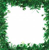 Green tinsel with stars as frame.
