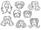 Set Of Eight Cartoon Women Contour Faces