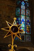 PRAGUE, CZECH REPUBLIC - APRIL 27, 2012: Christmas star in St. Vitus cathedral, Prague, Czech republ