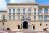 MONACO-VILLE, MONACO - JULY 13, 2013: Official residence of Prince of Monaco and security guard. Palace Guards group created in 1817, provide security for Palace, residence, Prince and his family.
