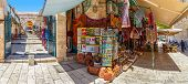 JERUSALEM, ISRAEL - AUGUST 21, 2013: Bazaar in Old City offer middle east traditional products, souv
