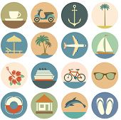 set of summer flatten icons