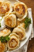 Homemade Polish Pierogis With Sour Cream