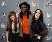 LOS ANGELES - APR 15:  Christina Grimmie, Delvin Choice, Kat Perkins at the NBC's