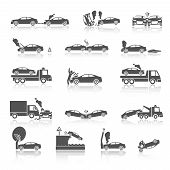 foto of towing  - Black and white car crash and accidents icons with pedestrian warning sign and tow truck vector illustration - JPG