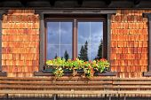 Dachstein huge tourist complex in Austrian Alps. Picturesque popular cafe window with flower pots