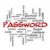 Password Word Cloud Concept In Red Caps