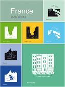 Landmarks of France. Set of flat color icons in Metro style. Editable vector illustration.