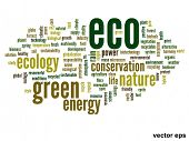 Vector eps concept or conceptual abstract green eco or ecology and conservation word cloud text on w