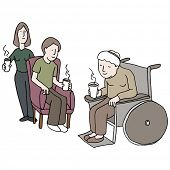 An image of a family visiting someone in a nursing home.