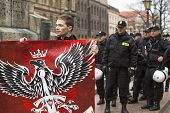 KRAKOW, POLAND - APR 13, 2014: Unidentified participants IV Procession Katyn in memory of all murder