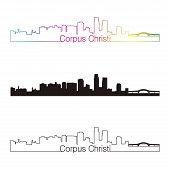 Corpus Christi Skyline Linear Style With Rainbow