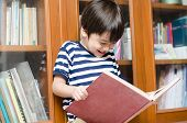 Little Boy In Library Holding Book