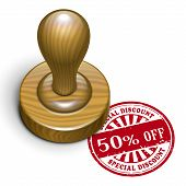 50 Percent Off Grunge Rubber Stamp