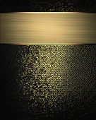 Abstract Black Background With Gold Scuffed And Gold Ribbon