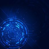 Abstract Circle Technology Blue Background