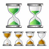 stock photo of sand timer  - Sand Clock Glass Timer Icons on White Background - JPG