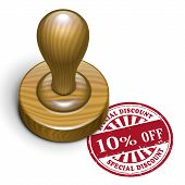10 Percent Off Grunge Rubber Stamp