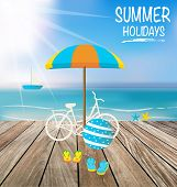 Summer holiday background with wood terrace. Vector illustration.