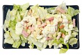 High Angle View Isolated Chef Salad on Plate Over White