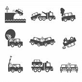 picture of fire insurance  - Black and white car accidents icons with tow truck street light  and tree crash isolated vector illustration - JPG