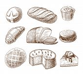 picture of cream puff  - Puff pastry and bread assortment doodle food icons set vector illustration - JPG