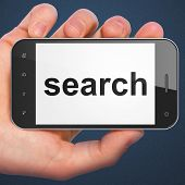 SEO web development concept: Search on smartphone