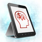 Advertising concept: Head With Finance Symbol on tablet pc computer
