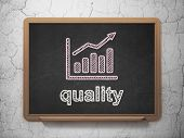 Marketing concept: Growth Graph and Quality on chalkboard background