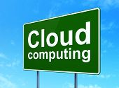 Cloud computing concept: Cloud Computing on road sign background