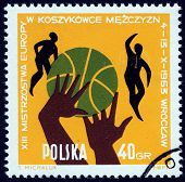 POLAND, CIRCA 1963:Post stamp printed in Poland showing  ball, hands and players at 13th European me