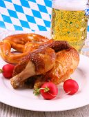 Oktoberfest Chicken And Pretzel, Beer, Radish