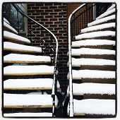 Staircases Covered By Snow
