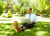 Full length of mature businessman using laptop while relaxing on grass in park