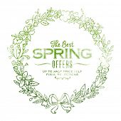 Spring wreath illustration