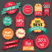 illustration of different sale and discount tags in flat style for promotion