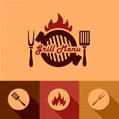 stock photo of grilled sausage  - Illustration Grill Menu of in Flat Design Style - JPG