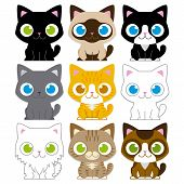 stock photo of baby cat  - Vector Set Of Different Adorable Cartoon Cats Isolated - JPG