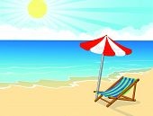 Cartoon Beach chair and umbrella on tropical beach