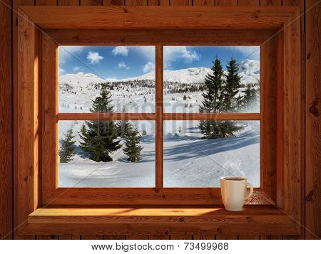 Idyllic And Peacefull Winter Landscape Of Snowy Mountains View Through Rustic Cabin Window Picture ID 73499968
