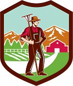 Organic Farmer Rake Woodcut Shield Retro