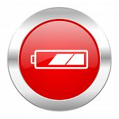 battery red circle chrome web icon isolated