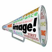 Image word on a megaphone or bullhorn to illustrate making a good first impression with a positive impression