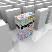 Image words on a product or package box standing out as a competitive advantage on store shelf with many competitors