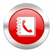 phonebook red circle chrome web icon isolated