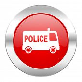 police red circle chrome web icon isolated