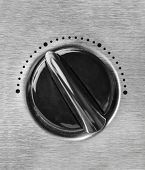 Technology control knob dial with brushed stainless steel metal texture