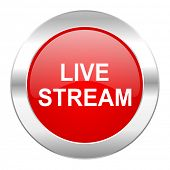 live stream red circle chrome web icon isolated