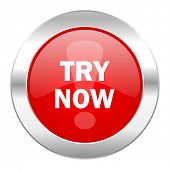 try now red circle chrome web icon isolated