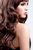 Profile portrait of a beautiful woman with brown curly hairs - isolated on white background.